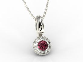 Ruby, 14ct white gold pendant with cubic zirconias APW-42B