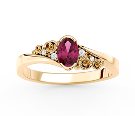 Ruby 14ct yellow gold ring with cubic zirconias AP-39Z
