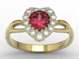Ruby & cubic zirconias 14 ct yellow gold ring in the shape of a heard AP-77Z-C