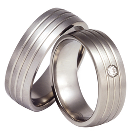 Titanium wedding ring with a cubic zirconia SWT-12/7-k