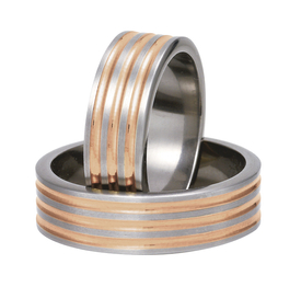 Titanium wedding ring with red gold SWTG-82/7-m