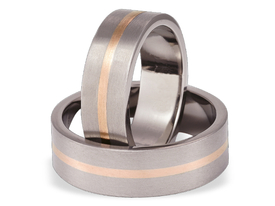 Titanium wedding ring with red gold SWTRG-42/7-k
