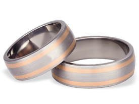Titanium wedding ring with red gold SWTRG-53/7-m