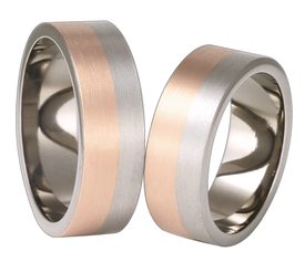Titanium wedding ring with red gold SWTRG-58/7-k