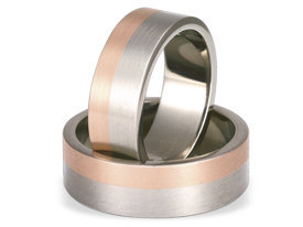 Titanium wedding ring with red gold SWTRG-59/7-m