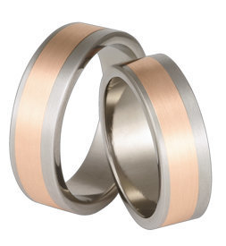 Titanium wedding ring with red gold SWTRG-68/7-m