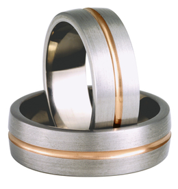 Titanium wedding ring with red gold SWTRG-74/7-k