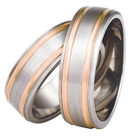 Titanium wedding ring with red gold SWTRG-76/7-k