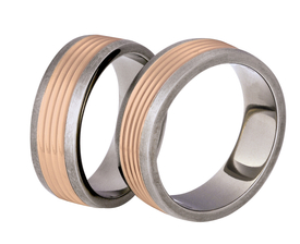 Titanium wedding ring with red gold SWTRG-80/7-k