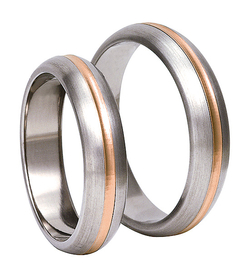 Titanium wedding ring with red gold SWTRG-81/5-k