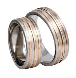 Titanium wedding ring with red gold SWTRG-83/7-k