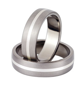 Titanium wedding ring with silver SWTS-44/6-k