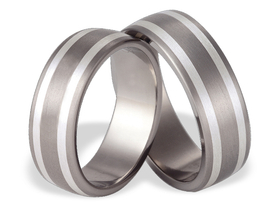 Titanium wedding ring with silver SWTS-53/7-m
