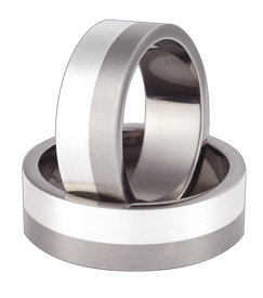 Titanium wedding ring with silver SWTS-58/7-k