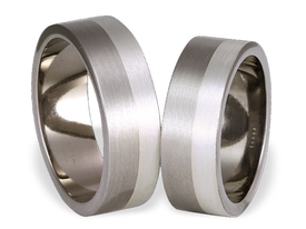 Titanium wedding ring with silver SWTS-59/7-m