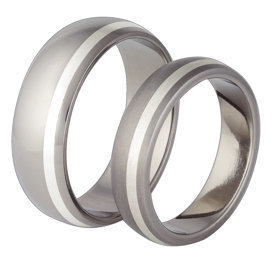 Titanium wedding ring with silver SWTS-63/5-k