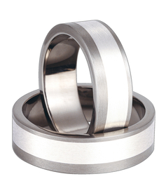Titanium wedding ring with silver SWTS-68/7-m