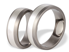 Titanium wedding ring with silver SWTS-69/7-m