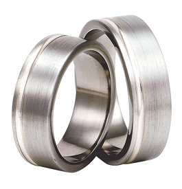 Titanium wedding ring with silver SWTS-72/7-m