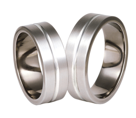Titanium wedding ring with silver SWTS-73/7-m