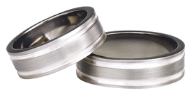 Titanium wedding ring with silver SWTS-75/7-m