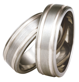 Titanium wedding ring with silver SWTS-76/7-m