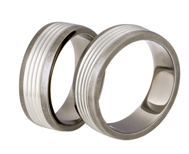 Titanium wedding ring with silver SWTS-80/7-m