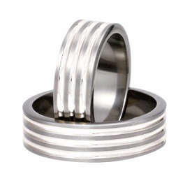 Titanium wedding ring with silver SWTS-82/7-k