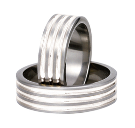 Titanium wedding ring with silver SWTS-82/7-m