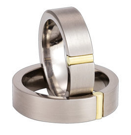 Titanium wedding ring with yellow gold SWTG-35/6-m