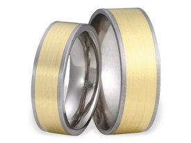 Titanium wedding ring with yellow gold SWTG-56/8-m