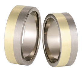 Titanium wedding ring with yellow gold SWTG-58/7-m