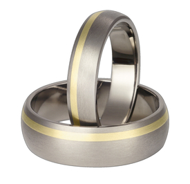 Titanium wedding ring with yellow gold SWTG-63/5-k