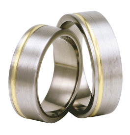 Titanium wedding ring with yellow gold SWTG-72/7-m