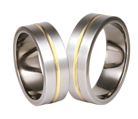 Titanium wedding ring with yellow gold SWTG-73/7-k