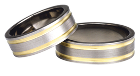 Titanium wedding ring with yellow gold SWTG-75/7-k