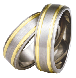 Titanium wedding ring with yellow gold SWTG-76/7-m