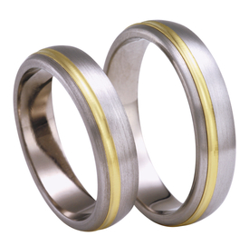 Titanium wedding ring with yellow gold SWTG-77/5-k
