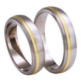Titanium wedding ring with yellow gold SWTG-77/5-m