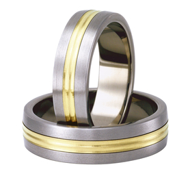 Titanium wedding ring with yellow gold SWTG-79/6-k