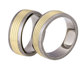 Titanium wedding ring with yellow gold SWTG-80/7-m