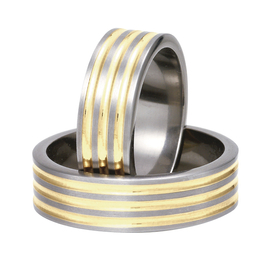 Titanium wedding ring with yellow gold SWTG-82/7-m