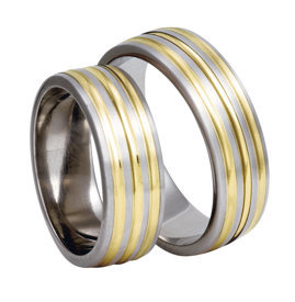 Titanium wedding ring with yellow gold SWTG-83/7-k