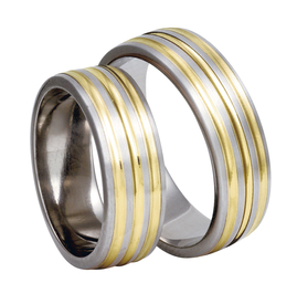 Titanium wedding ring with yellow gold SWTG-83/7-m