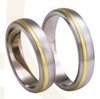 Titanium wedding rings with yellow gold SWTG-77/5