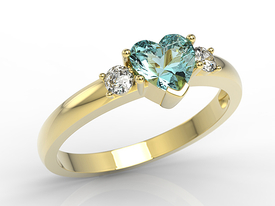 Topaz blue 14ct yellow gold ring in the shape of heart with cubic zirconias JP-90Z-C