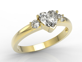 Topaze white 14ct yellow gold ring in the shape of heart with cubic zirconias JP-90Z-C