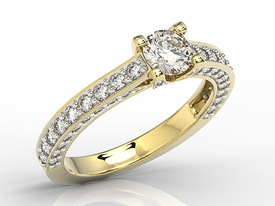 Yellow gold ring with cubic zirconia LP-16Z-R