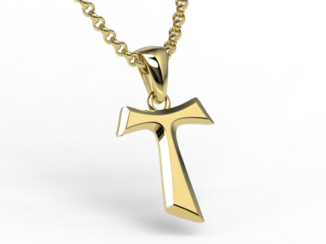 Franciscan tau cross yellow gold 585 kr 6z gold jewelery colour of gold and stones in photos may not reflect the real colour mozeypictures Gallery