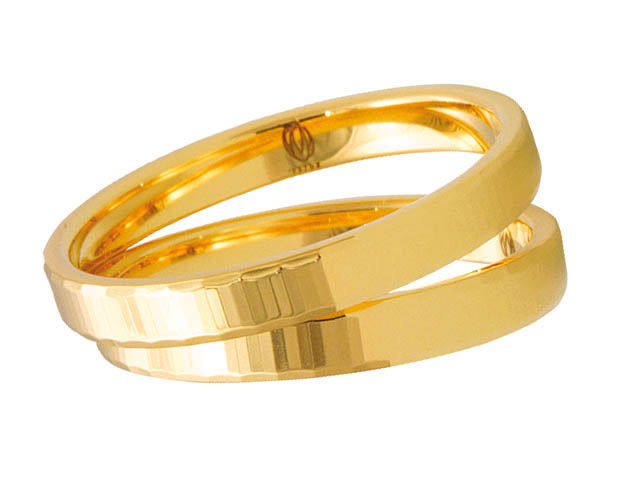 Pair of yellow gold wedding rings 3mm K01Z 15 mm Wedding